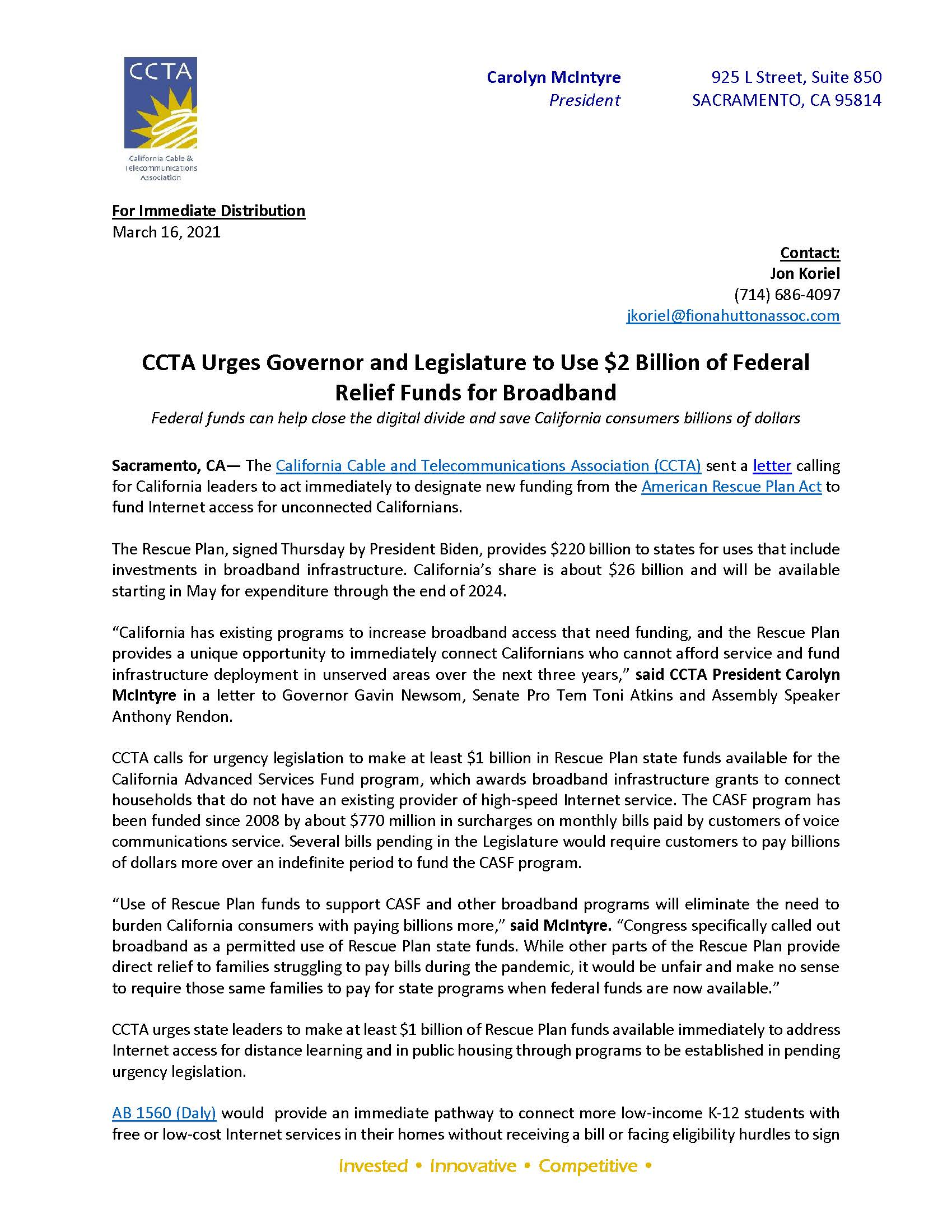 CCTA Letter to Governor and Legislative Leaders Urging Use of $2 Billion Relief Funds for Broadband