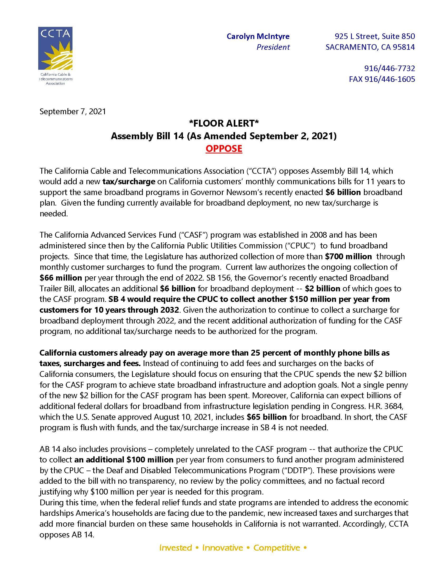 AB 14 (A Curry) CCTA Opposition Floor Alert 9.7.21